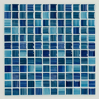 Hand Painted Blue Glass Mosaic 300x300x8mm