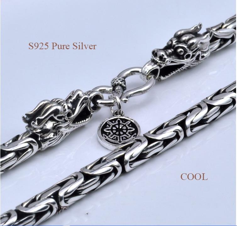 50e2f3125994 100% collar de cadena de Plata Pura S925 collar de Plata de ley con ...