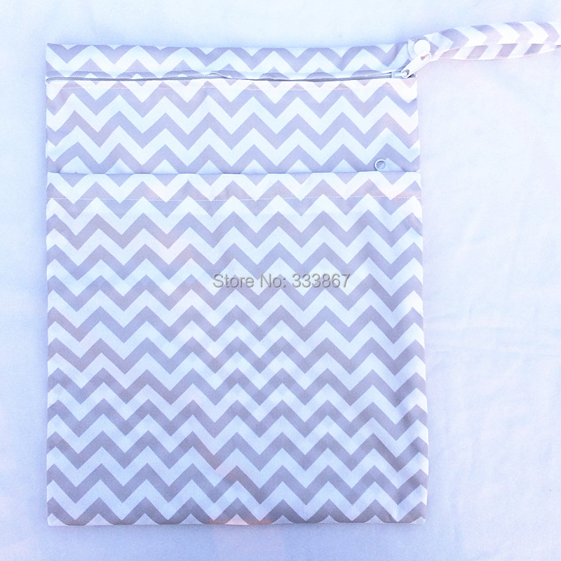 HT1onpbFF4dXXagOFbXb [Sigzagor]Wet Dry Bag, With Two Zippered Baby Diaper Bag, Nappy Bag, Waterproof, Reusable,Washable Grey Gray Chevron Zigzag