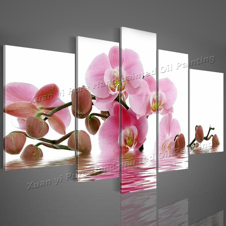 Pink Orchid Floral Flower Canvas Wall Art Picture Large Any Size