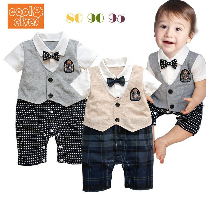 One Year Old Boy Birthday Outfit Formal Dress Plaid Clothes Brand Design Gentleman Piece Romper Wedding 4th