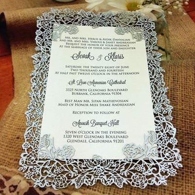 Laser cut rose vine wedding invitation card invitation card wi 012 complex rose design silver color 2 stopboris Image collections