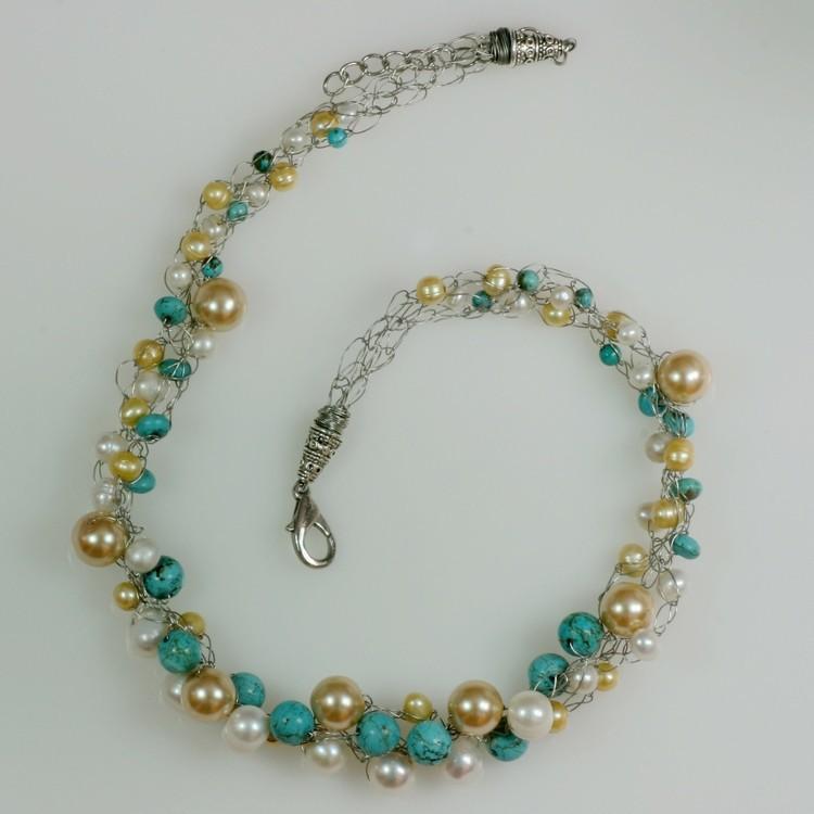 Collar de perlas de turquesa bolas gargantilla chunky alambre ...