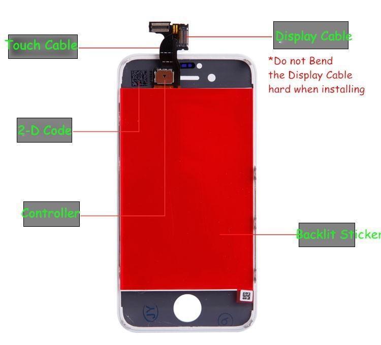 100 шт. жк-цифровой для айфона 4S + сенсорный экран планшета + рамка сенсорная панель бесплатная доставка