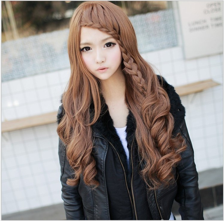 Free Shipping 2014 New Japanese And Korean Fashion High Temperature Wire Wig Can Perm Oblique Bangs Long Hair Braided Wig Wig Cap Wig Scalpwig Set Aliexpress