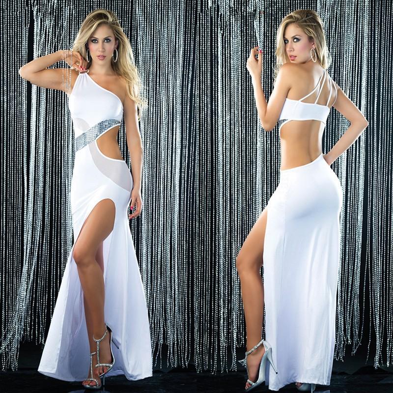 бесплатная доставка, новый темперамент белый платье, латинский танец сексуальная стечь обратно высокой упругой одно плечо вечернее dinnerdress
