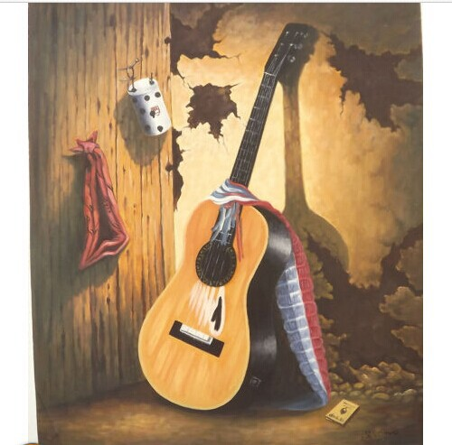 SPANISH GUITAR WITH COLORFUL STRAP 20 X 24 Oil Painting On Canvas By Sicho