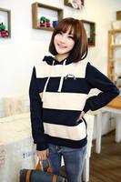 нью-корейски весна с капюшоном тонкий с длинными рукавами ватки пуловер футболка широкие полосы женская худи толстовки