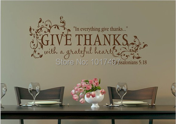 Bible Verse Give Thanks With A Grateful Heart Thanksgiving Wall - Vinyl wall decals bible verses