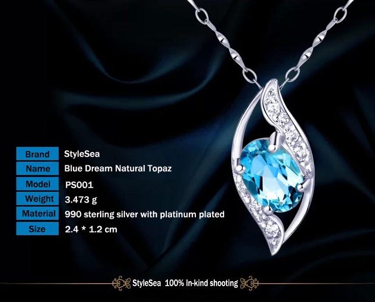 TOP Fashion Stone Silver Necklace Blue Dream Natural Topaze Pendant ... ef5addd90aff3
