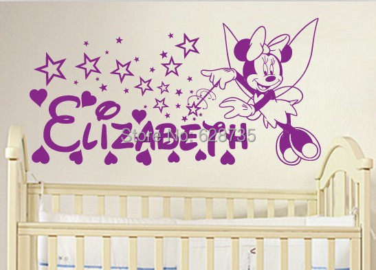 Custom Name Personalised MINNIE MOUSE With Magic Wand Wall Sticker Decal  Art For Baby Girls Nursery Part 15