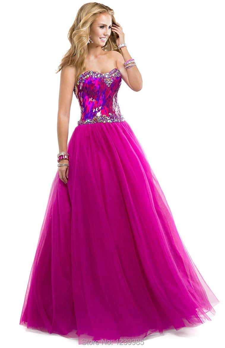 2016 compras en línea Sexy Sweetheart largo Prom vestidos brillantes ...