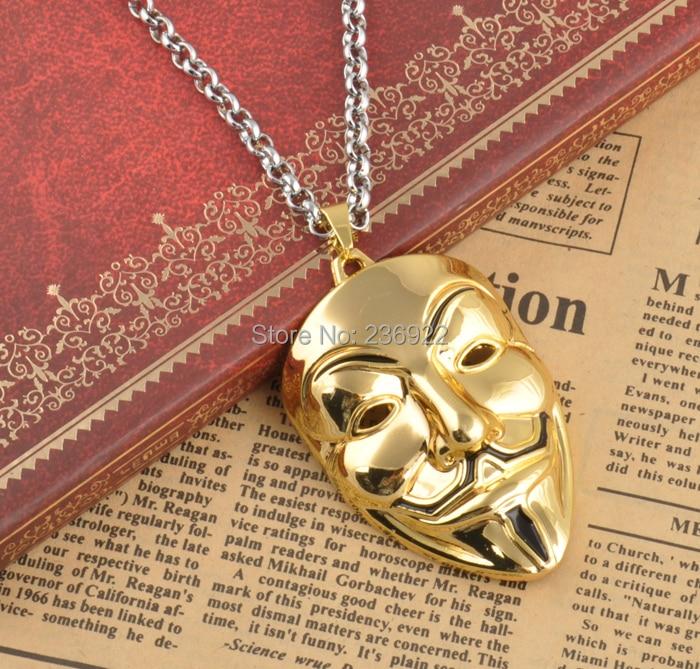 Face Pendant Fashion movie charm gold v for vendetta mask face pendant necklace dsc3387g audiocablefo
