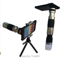 бесплатная доставка 16х ручная фокусировка телескопа + 220x микроскоп телефон фотоаппарат алюминиевый объектив с штатив для телефон