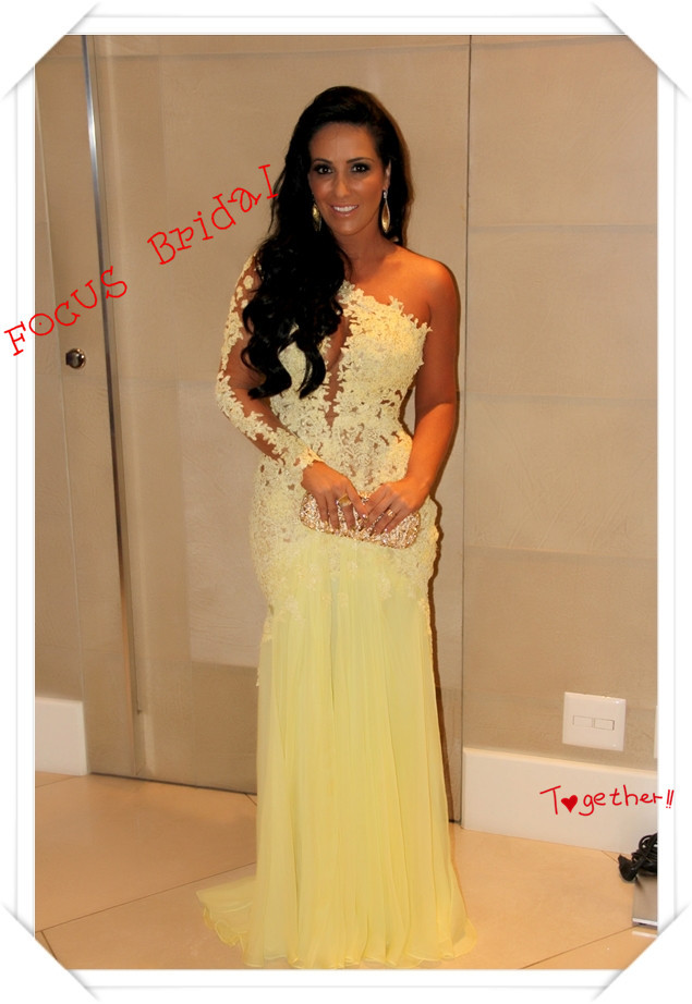 Focus Bridal Hot A Line One Shoulder Sleeveless Court Train Yellow
