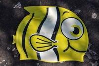 новый мода мальчики девочки шапочка для плавания 100% силиконовые безопасности водонепроницаемый мультфильм рыбы печать дети шапочки для купания