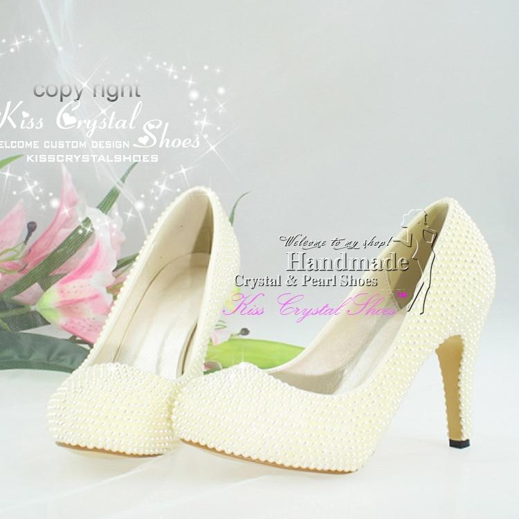 Handmade Pearl Shoes Women Pumps Elegant Dress For