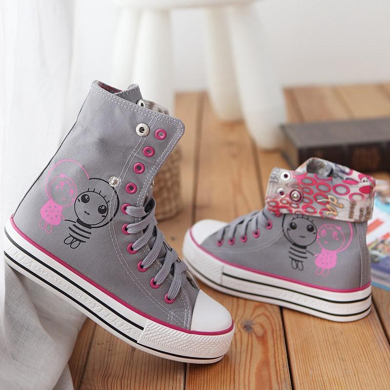 новый женская квартиры кроссовки может 3 цвет мультфильм девушка шнурки Tennis CAD чемпионата ее туфли