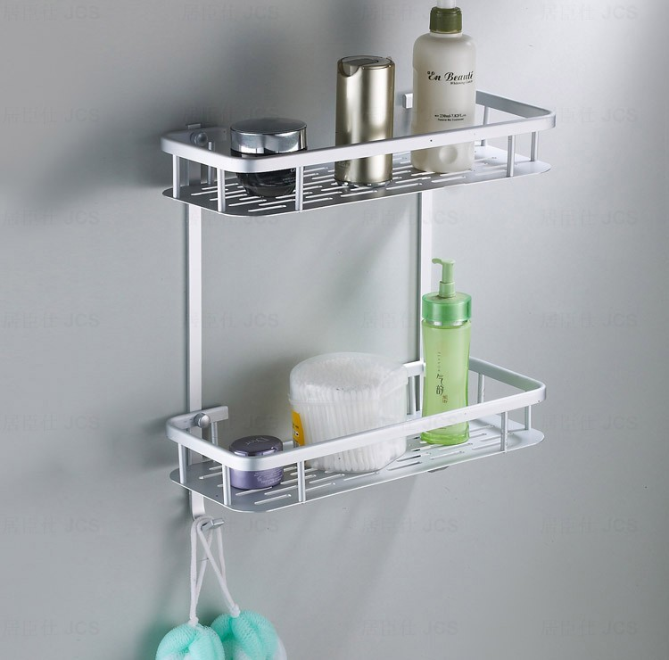 Bathroom Shelves Two Layer Chrome Silver Wall Rack Towel Hooks ...