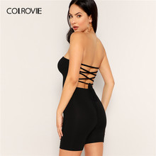 5120765aad7 COLROVIE Black Solid Criss-Cross Tied Back Sexy Tube Jumpsuit Women 2019  Summer Sleeveless Skinny Playsuit Club Backless Rompers