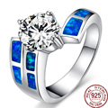 Bohemia Style Blue Opals Gem 925 Sterling Silver  Rings For Women/Men Wedding Vintage Round Zirconia Fine Jewelry Luxury