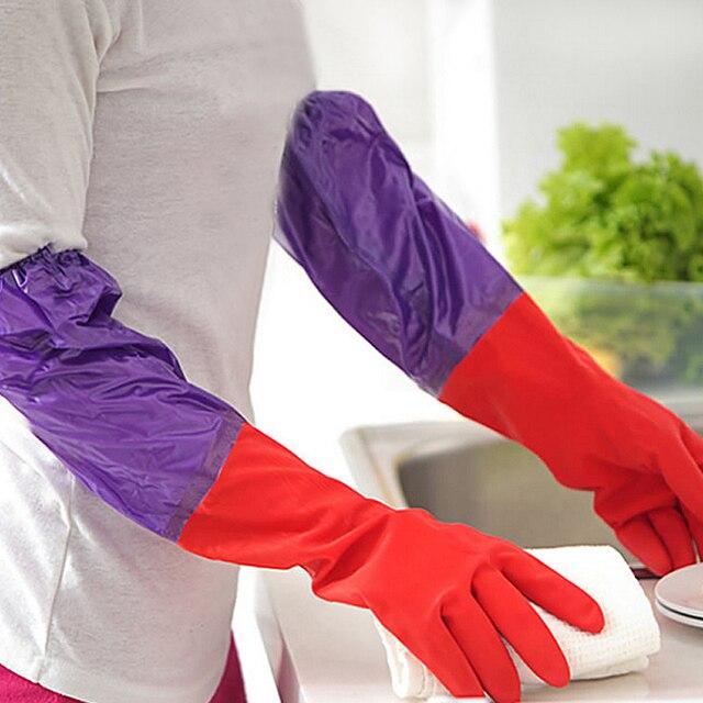 1 Paar Warme Gummi Hausarbeit Garten Handschuhe Lange Gummi