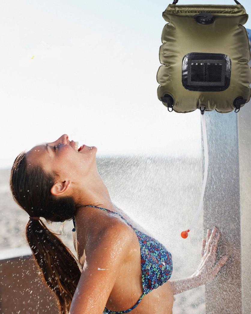 Image 5 - 2019 водяные сумки для походов на открытом воздухе, походная Солнечная душевая сумка, 20 л, нагревательная Сумка для кемпинга, душевой шланг, переключаемая душевая головка, горячая распродажа-in Мешки для воды from Спорт и развлечения