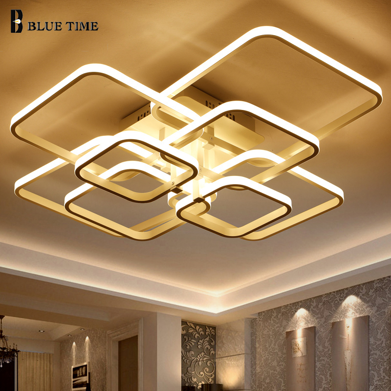 New Acrylic Square 8 6 4 Rings ceiling light For Living Room Bedroom Home Modern Led Ceiling lamp ceiling lighting home lighting in Ceiling Lights from Lights Lighting