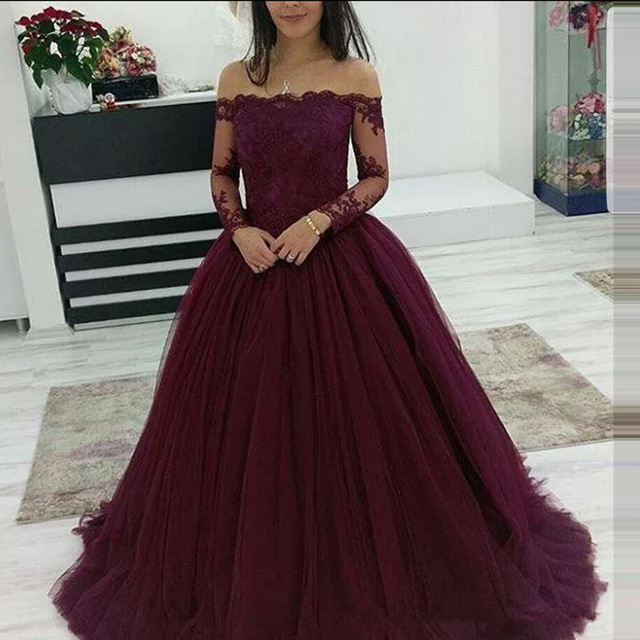 Sheer Ball Gown 2019 Prom Dresses Off the Shoulder Lace Long Sleeves Evening Dress Long Vestidos De Festa Graduate Dress