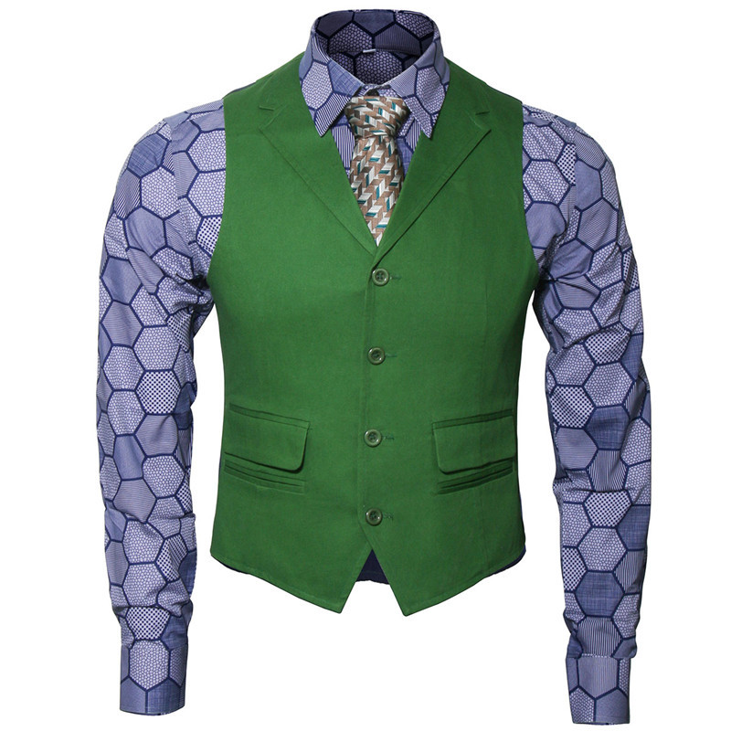 Takerlama New Batman Dark Knight Rise Joker Cosplay Adult Men Shirt + Green Vest + Tie Halloween Movie Cosplay Costume