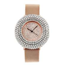 JBAILI Women Quartz Watch Bling Fashion Casual Ladies Female Gold Crystal Diamond Magnet Strap Clock