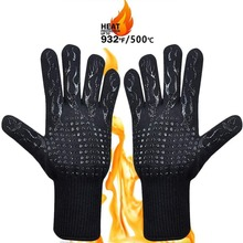 1PCS BBQ Glove 300 500 Centigrade Extreme Heat Resistant Silicone microwave kitchen Gloves Cooking Grill Oven Mitts Gloves