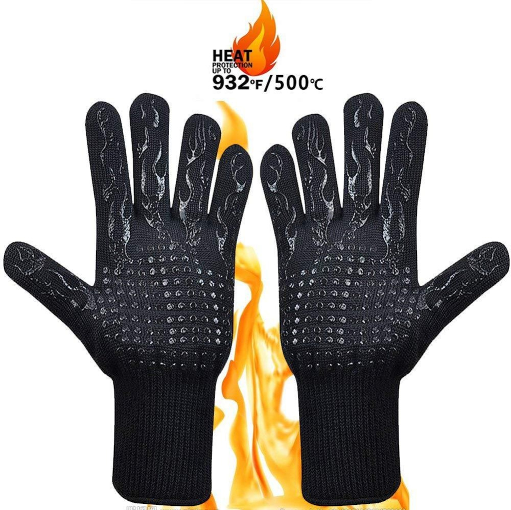 WELLSTONE barbecue gloves extra long baking gloves for bbq cooking baking 36 cm cooking gloves heat resistant up to 500 /°C