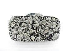 #8207 Crystal Rose Flower Floral Bridal Party Black hollow Metal Evening purse clutch bag handbag case