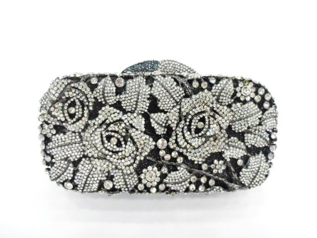 ФОТО #8207 Crystal Rose Flower Floral Bridal Party Black hollow Metal Evening purse clutch bag handbag case