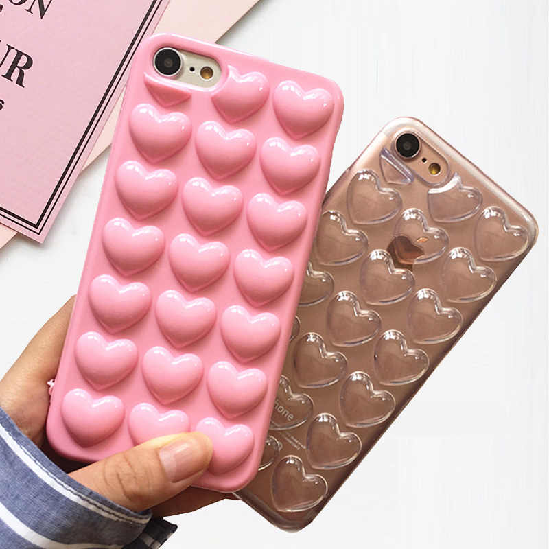 f050bb4eec3b1 TIKITAKA Korean Love Heart Jelly Candy Soft Silicone TPU Back Cover With Lanyard  Phone Cases For