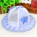 La mariposa de rayas sombrero del cubo del bebé princesa Ruffles respirable del verano del bebé del casquillo del sombrero SummerHats para los niños de 0-1 años