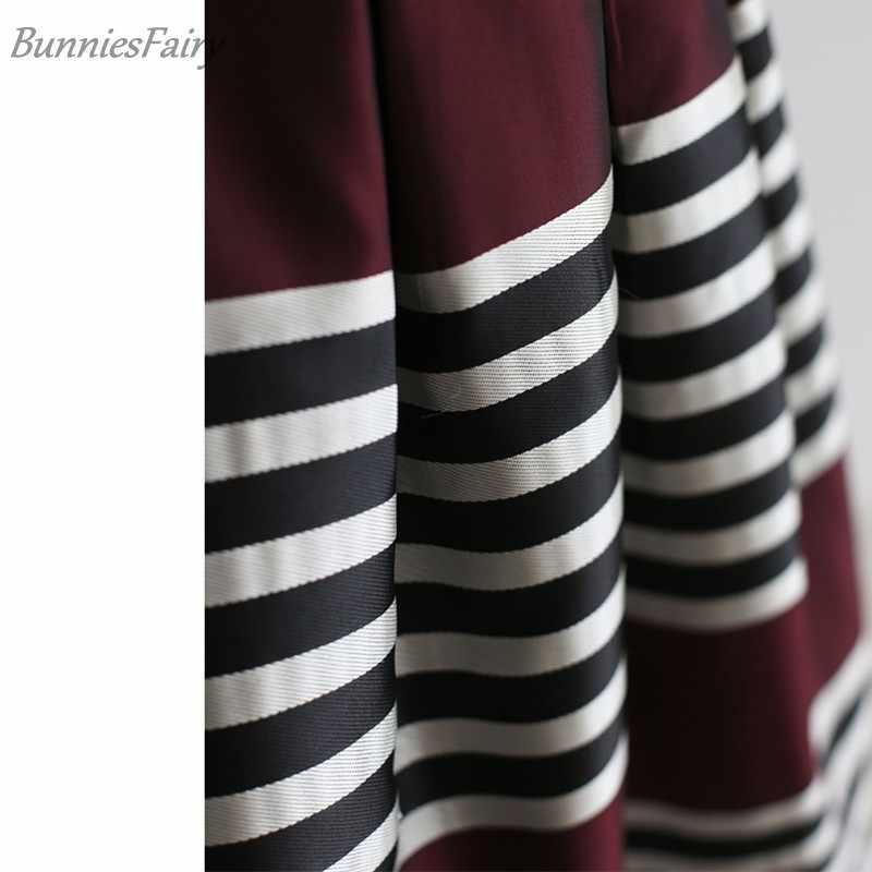 BunniesFairy 2018 jesień kobiety Retro klasyczne czarne białe paski druku wysokiej talii plisowana spódnica trzy czwarte w winie