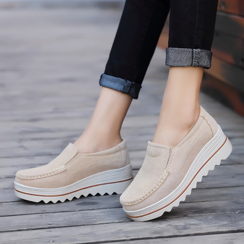 Spring Shoes   Leather     Suede   Women Casual Shoes Slip on Flats Heels Women Flats Shoes Platform Sneakers Creepers Moccasins