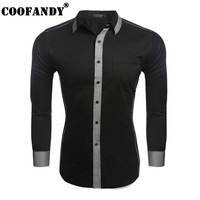 COOFANDY 2017 New Arrivals Mens Casual Long Sleeve Patchwork Button Down Collar Slim Color Block Shirt