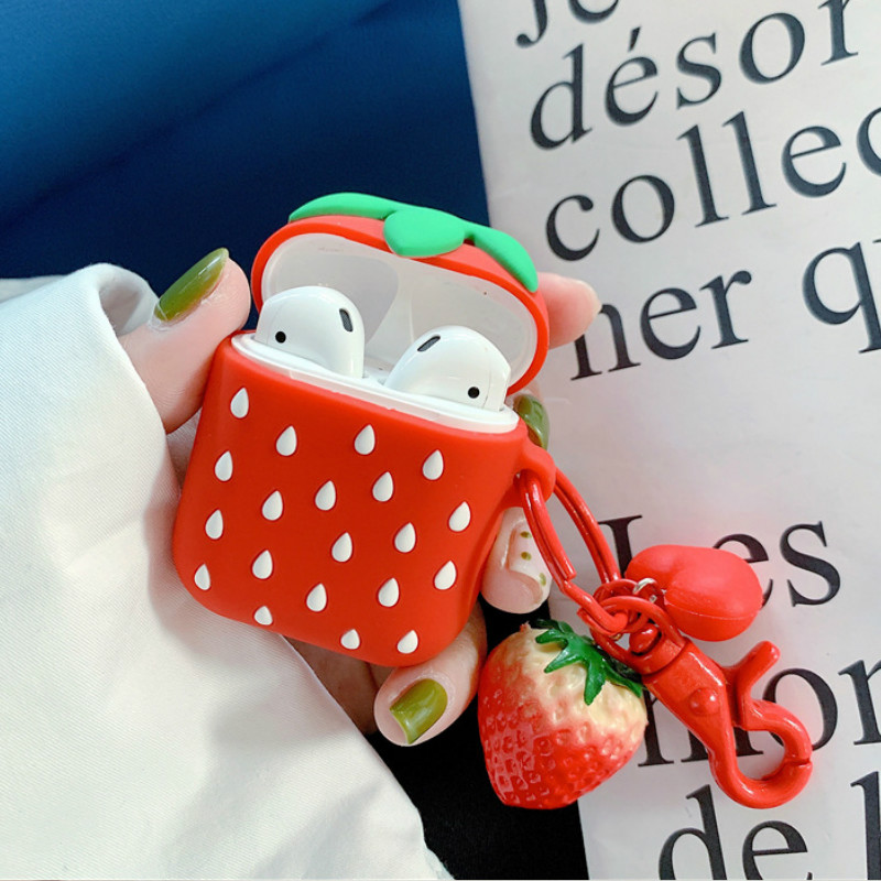 3D Strawberry Earphone Case for AirPods Bluetooth Wireless Headphone Bag Cover for Apple Airpods 2 Charger Fruit Pendant Female