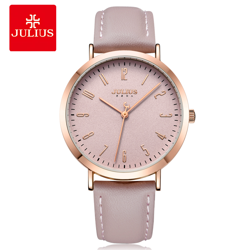 Julius Watch Brand New Original Designer Quartz Simple Women-watches Large Dial Pink Leather Strap Female Clock Montre JA-1017