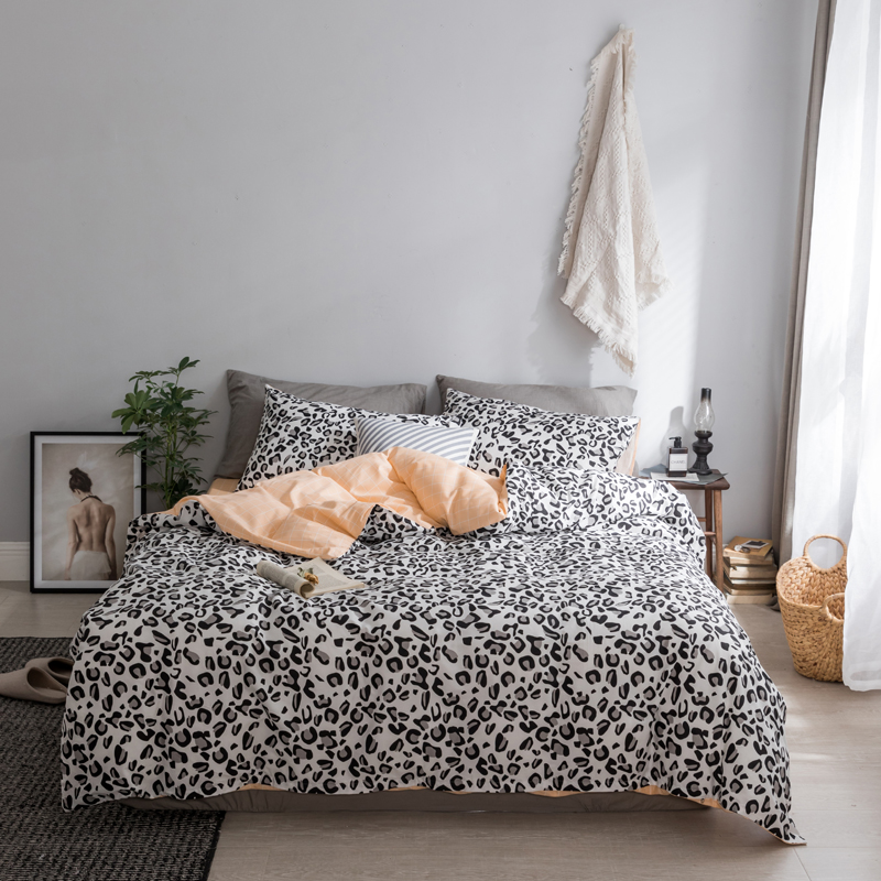 2018 bedding set Black-and-white Leopard Print  bed linens fashion bedsheet duvet cover fitted sheet pillowcases 100% cotton2018 bedding set Black-and-white Leopard Print  bed linens fashion bedsheet duvet cover fitted sheet pillowcases 100% cotton