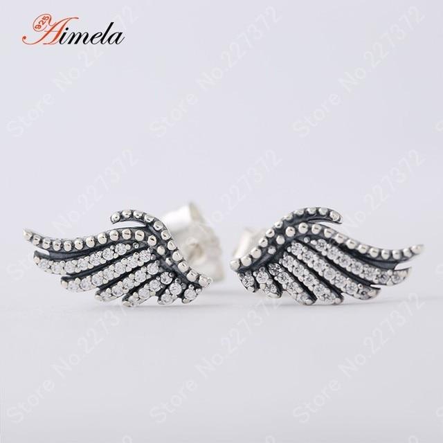 2016 Autumn Clear Zircon Micro Pave Phoenix Feather Stud Earrings For Women 925 Sterling Silver Female Hypoallergenic Earrings