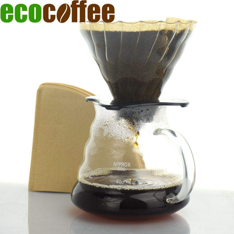 Eco Coffee Nou Sosire Cafea Bundle Ceramica Dripper de cafea V60 + 580ML Server + 102 Filtre