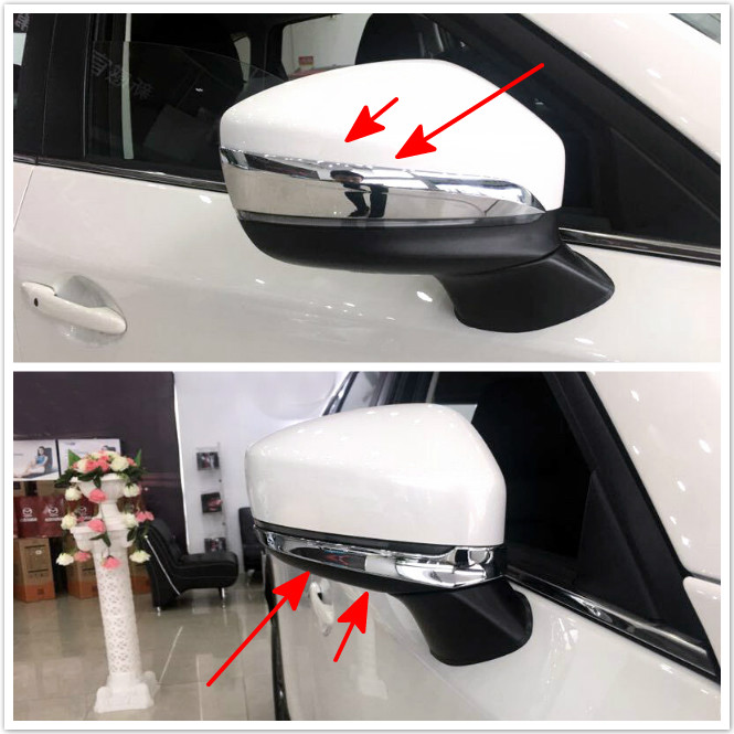 1 set ABS Chrome Car Door Side Rearview Mirror Upper + Below Lower Stripe Cover Trims For Mazda CX9 CX-9 2nd Gen. 2016 2017 2018 exterior 4pcs abs chromed lower door