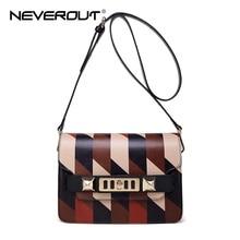 NeverOut Farbe Patchwork Vintage Echtem Leder Messenger Bags für Frauen Mode Crossbody Taschen mit Leder Schulter Gürtel