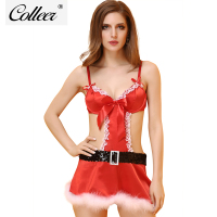 COLLEER Women Christmas Push Up Bra Set Sexy Sequins Backless Lingerie Red Halloween Gifts Underwear Women