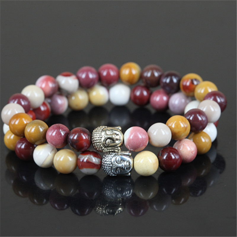 2pcs New natural egg yellow round stone beads charm women bracelet beaded mercy buddha head men stretch bracelet
