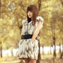 Women Rabbit Real Fur Vest Coats Winter Hot Sale Fu